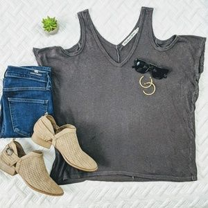Michael Stars Cold Shoulder Hemp and Cotton Tee